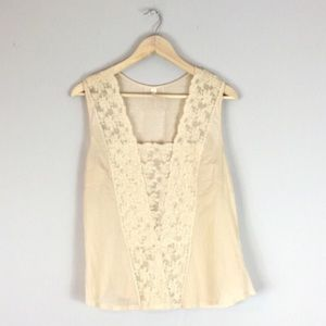 Tiny Silk Blend Lace Front Tank Top